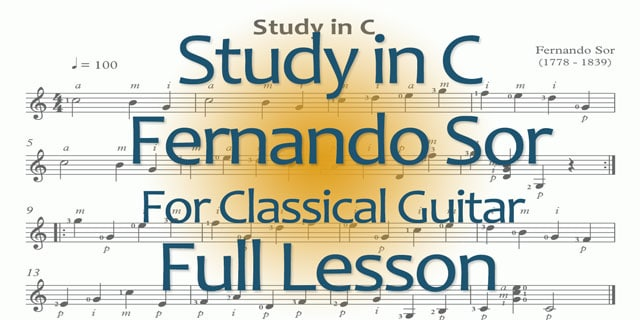 Sor classical guitar study in C