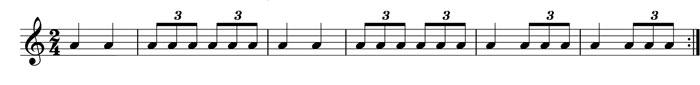 alternate triplet and quarter notes