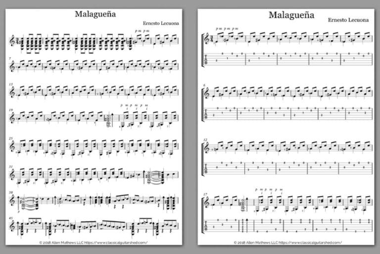 Free Guitar Sheet Music] Lecuona, Ernesto - Malagueña