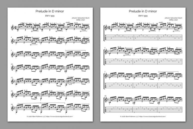 Free Classical Guitar Sheet Music] J S  Bach - Prelude BWV 999