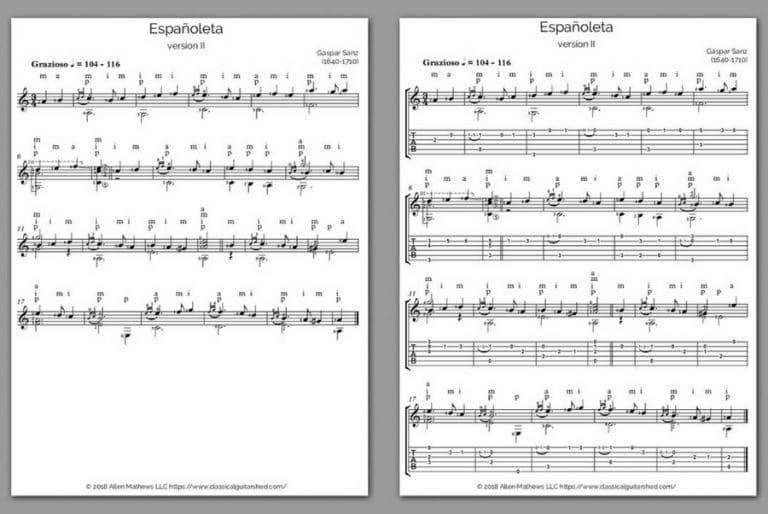 free classical guitar sheet music gaspar sanz espanoleta advanced. Black Bedroom Furniture Sets. Home Design Ideas