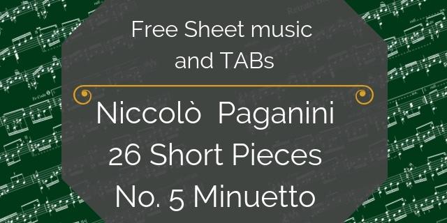 Paganini easy free guitar