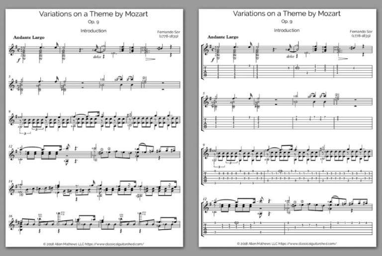 Free Classical Guitar Sheet Music] Fernando Sor - Variations