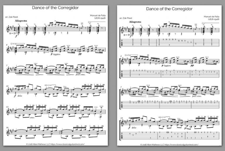 Free Classical Guitar Sheet Music] Manuel de Falla - Dance of Corregidor