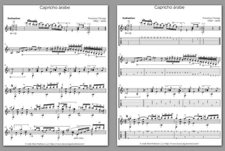 Free Classical Guitar Sheet Music] Francisco Tarrega - Capricho Arabe