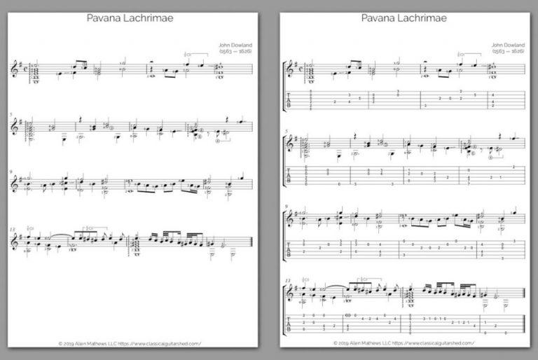 Free Classical Guitar Sheet Music] John Dowland - Pavana